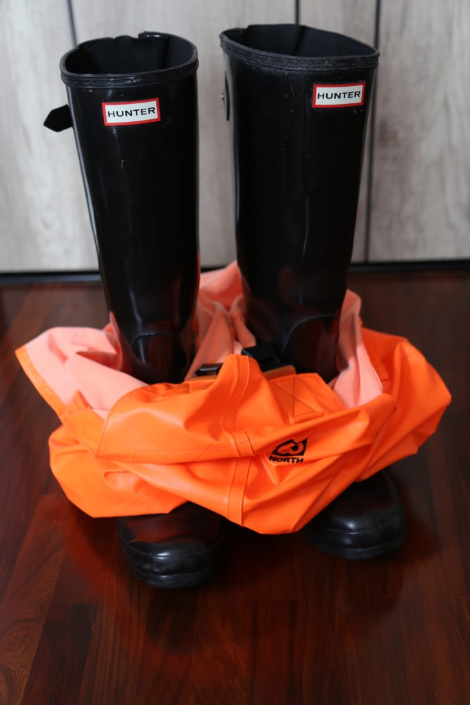 66North rainwear with rubber Hunter boots