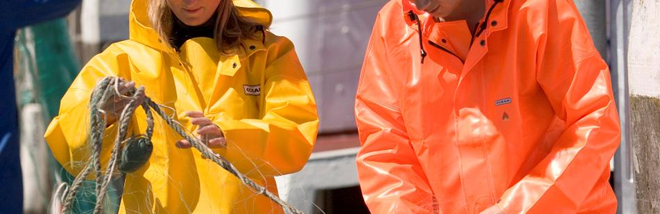 Ocean PVC raincoat orange heavy-duty rainwear raingear