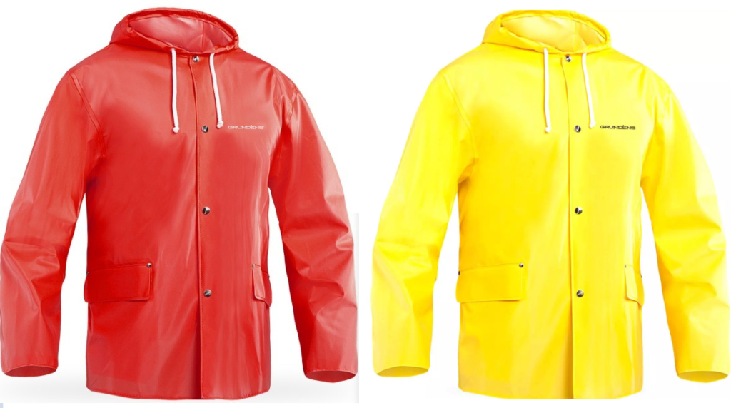 Grundens Grundéns Atlas 182 rain jacket in yellow and red