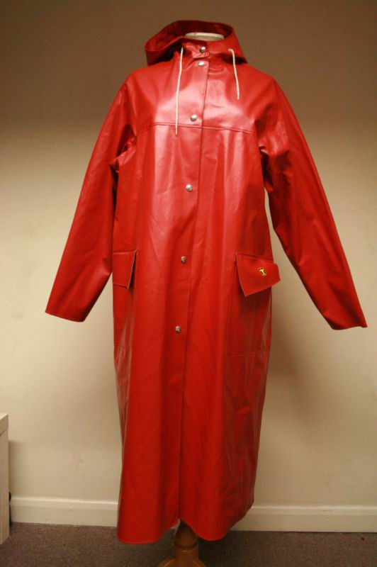 vintage guy cotten red raincoat long