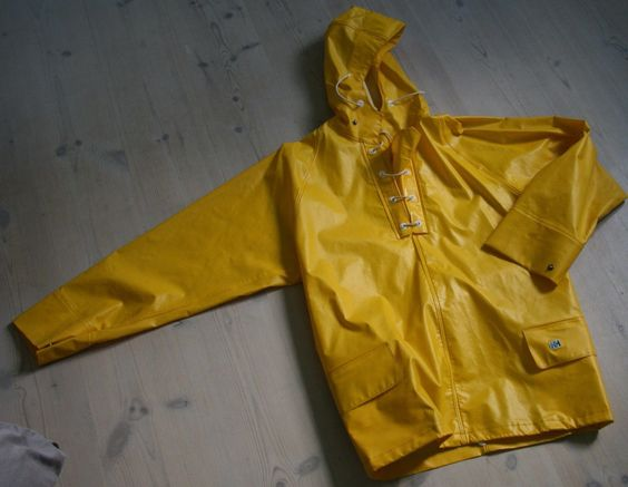 helly hansen vintage raincoat pvc rubber yellow 50's 60's