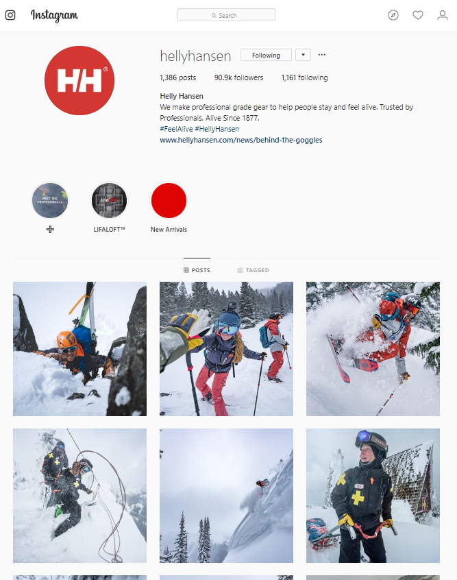 helly hansen instagram social media page