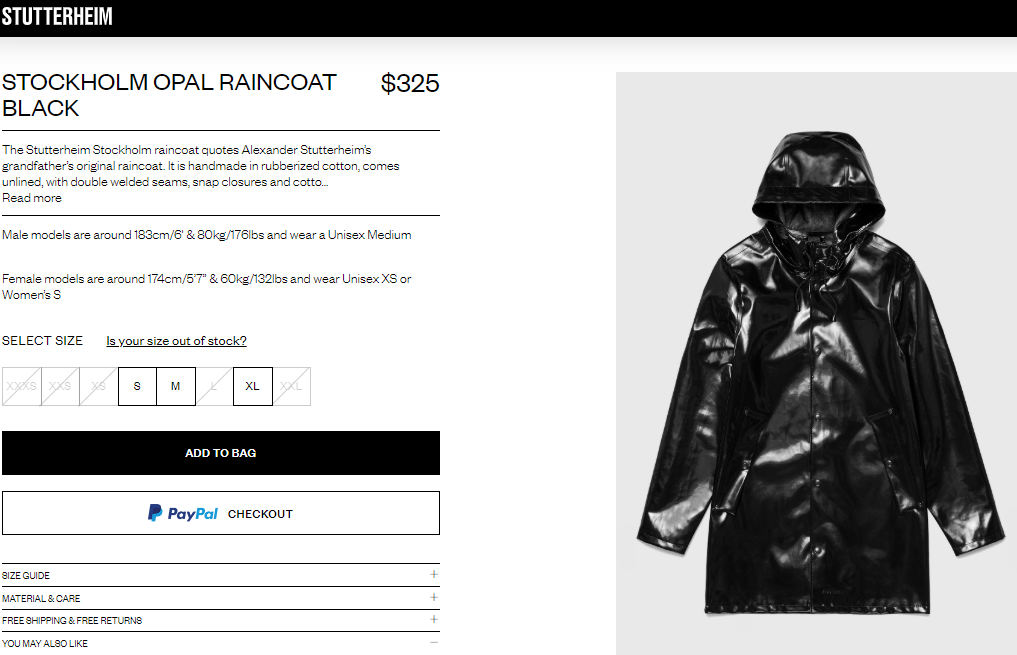 stutterheim opal raincoat in black