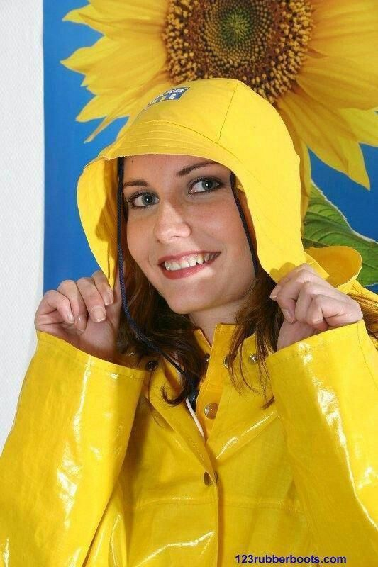 pvc raincoat and southwester rain hat in yellow