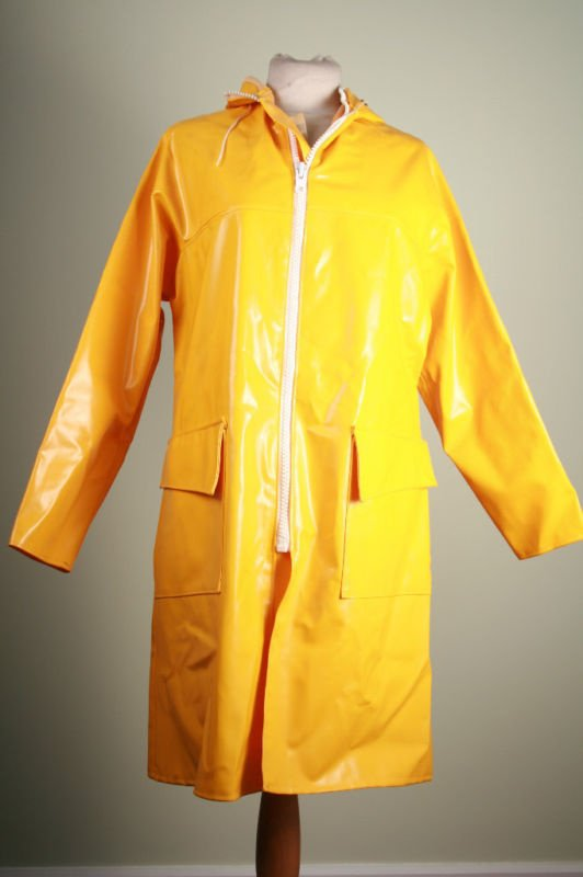 vintage Guy Cotten raincoat in shiny bright yellow