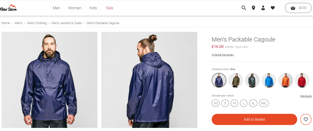 peter storm cagoule on sale
