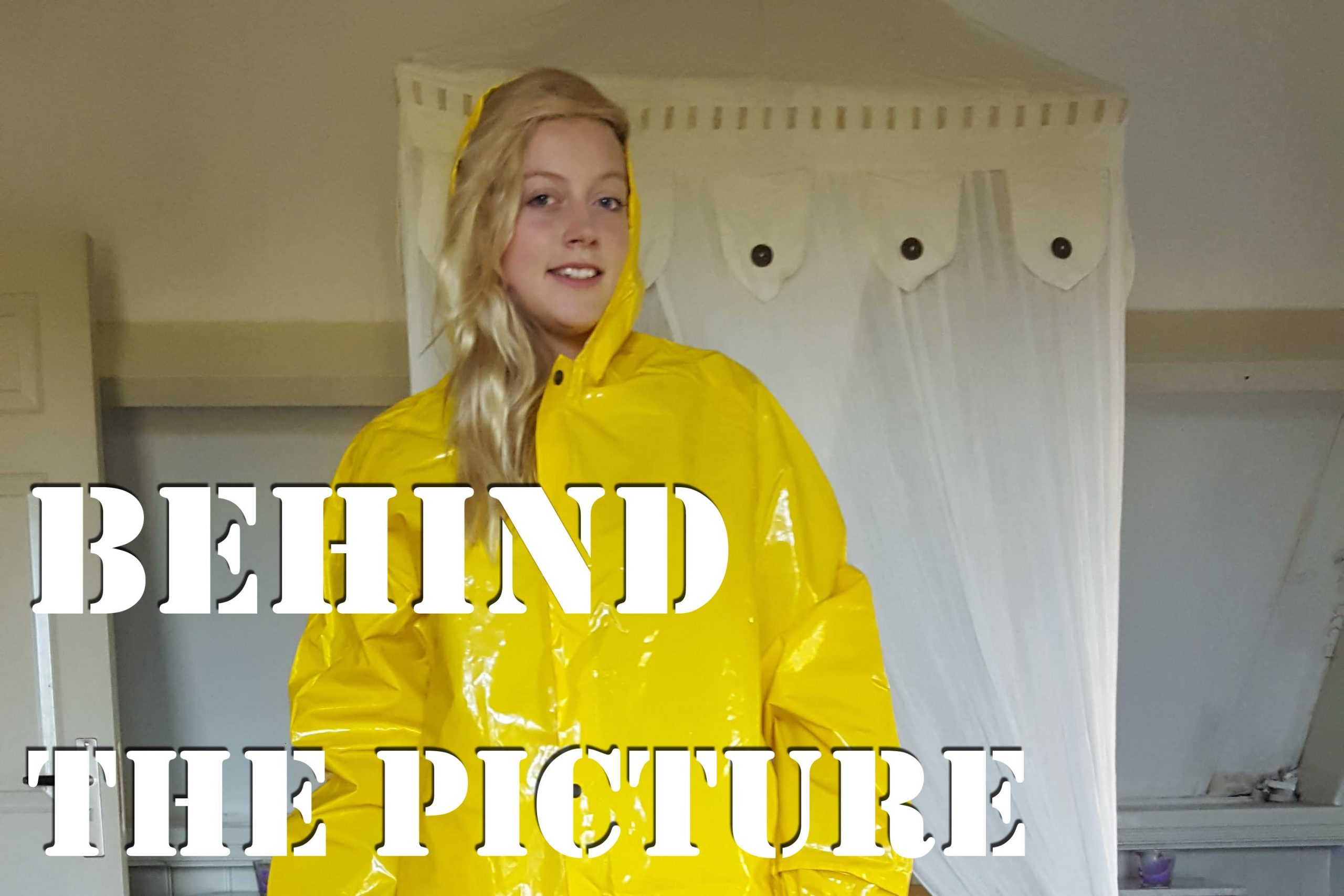 eileen in bright yellow pvc rainwear and rubber riding boots